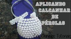 Como aplicar calcanhar de pérolas, Chinelos Bordados, Chinelos personalizados,pérolas