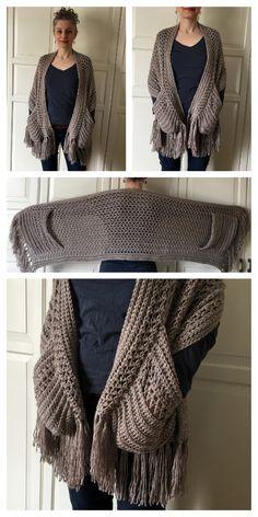 Crochet Wrap Pattern, Crochet Shawl Free, Crochet Shawls And Wraps, Knit Or Crochet, Crochet Scarves, Crochet Crafts, Crochet Clothes, Free Crochet Sweater Patterns, Diy Crochet Scarf