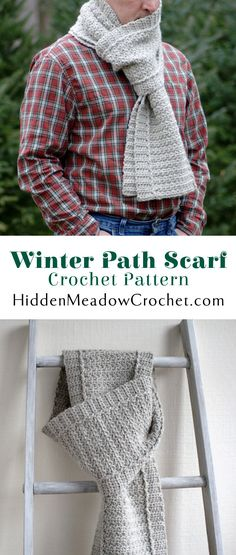 The Winter Path Scarf crochet pattern available at HiddenMeadowCrochet.com