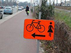 Gescheiden fietspad voor mannen en vrouwen of vrouwentoiletten bereikbaar per fiets ?