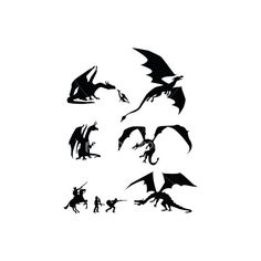 fantasy-dragon-silhouettes.jpg (JPEG Image, 308x380 pixels) ❤ liked on Polyvore featuring misc