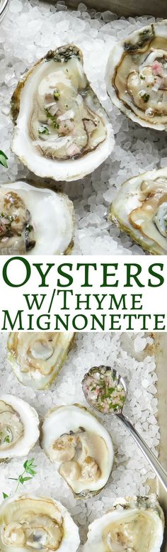 Oysters with Thyme Mignonette. Always have oysters in NYE. Might be a new way of serving them.