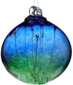 "Kitras Art Blown Glass 6"" Olde English Witch Ball - Cobalt & Green"