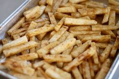 Jicama fries are a healthy alternative to regular fries. In this recipe they're coated with olive oil and sprinkled with flavorful seasonings. |sarahnspice.com