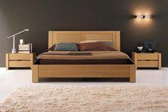 decoração cama trabalhada de madeira com cabeceira quarto parede branca - Pesquisa Google