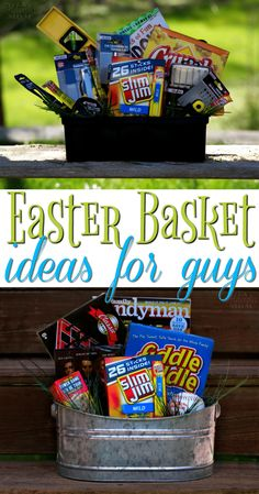 Easter basket idea gifts pinterest basket ideas easter easter baskets are just for kids make a fun easter basket for your husband boyfriend or friend with these easy easter basket ideas for guys negle Choice Image