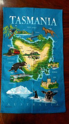vintage souvenir tea dish towel tasmania map sites animals australia blue
