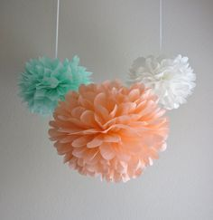 I want to hang these color pom pons above the tables. mint, peach & white