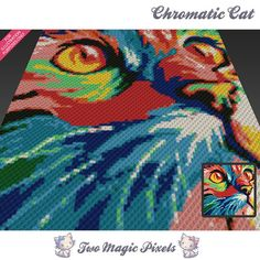 Chromatic Cat by Two Magic Pixels is a graph that can be used to crochet a blanket using C2C (Corner to Corner), TSS (Tunisian Simple Stitch) and other techniques. Alternatively, you can use this graph for knitting, cross stitching and other crafts.  This graph design is 100 squares wide by 100 squares high.  It requires 11 colors.  Pattern PDF includes: - color illustration for reference - color squares pattern  Images only. There are NO written counts or step-by-step instructions. Want to…