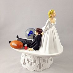 Funny Wedding Cake Topper Detroit Lions Football Themed Can Be Personalized with Your Favorite NFL Team ** You can find out more details at the link of the image.