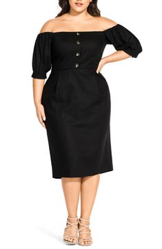 online shopping for City Chic Bubble Sleeve Off Shoulder Dress (Plus Size) from top store. See new offer for City Chic Bubble Sleeve Off Shoulder Dress (Plus Size) City Chic, Bubble, Midi Length Skirts, Dresses For Work, Dresses With Sleeves, Cropped Skinny Jeans, Satin Dresses, Special Occasion Dresses, Plus Size Women