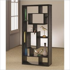 Coaster Contemporary Asymmetrical Cube Bookcase Black Finish - 800262