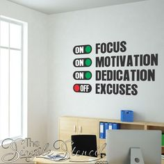 Fun wall art decal makes a great addition to school classroom walls, office work spaces, fitness centers, gyms, or anywhere you need a little more foc Classroom Walls, Classroom Design, School Classroom, Classroom Organization, School Office, Business Education Classroom, Classroom Wall Quotes, Classroom Wall Decor, Science Classroom Decorations