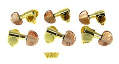 """Gold Electric Guitar Tuners with Mocha Pearloid Buttons - 6pc. 3 Left / 3 Right. Classic """"half moon"""" (or Lima bean) style tuner buttons. High-quality shiny gold finish, beautiful brownish pearloid buttons. Sealed-gear tuners with screw-in bushings. 3 Left/3 Right Alignment, includes all hardware. Great for new work or repairs."""
