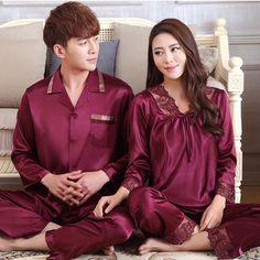 18cbf1bfa4fa couple lovers sleepwear for female and male silk long or short sleeve  spring summer silk pajamas