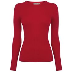 Oasis Long-sleeved Rib Top, Mid Red ($36) ❤ liked on Polyvore featuring tops, rayon tops, ribbed top, long sleeve tops, red top and round neck top