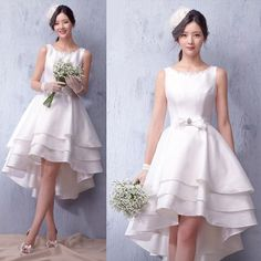 Off White Layer High Low Short Wedding Bridal Party Reception Dress SKU-166015