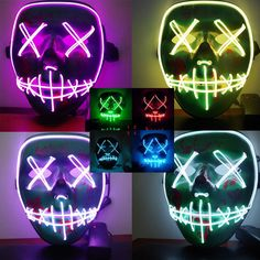 Men's Masks 1pc Led Mask Atttractive Luminous 7 Colors Dust-proof Bright Light Up Mask Rave Mask For Party Women Men Halloween Year-End Bargain Sale