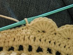 This edging can be made with any weight yarn lighter than bulky. It is suggested that yarn be smooth so the pattern is visible. Use a needle appropriate to the weight yarn.
