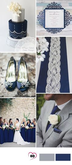 grey and dark blue wedding idea