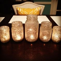 I'm personally thinking about use scotch tape and roll over glitter :) DIY glitter starry night candles wedding reception decorations decor Bride magazine Candles Wedding, Wedding Reception Decorations, Wedding Centerpieces, Wedding Table, Diy Wedding, Wedding Favors, Dream Wedding, Trendy Wedding, Glitter Wedding
