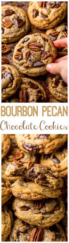 These Brown Butter Bourbon Pecan Chocolate Chunk Cookies are crunchy chewy and SO flavorful! You have to try these! These Brown Butter Bourbon Pecan Chocolate Chunk Cookies are crunchy chewy and SO flavorful! You have to try these! Cookie Desserts, Just Desserts, Cookie Recipes, Dessert Recipes, Pecan Recipes, Cookie Favors, Soup Recipes, Cookies Et Biscuits, Chip Cookies