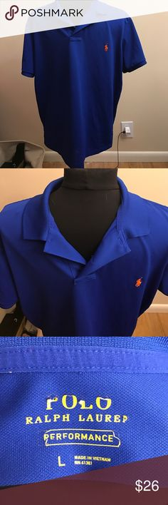 Polo Ralph Lauren performance polo shirt Bright blue performance material shirt with orange horse. Size large. Polo by Ralph Lauren Shirts Polos
