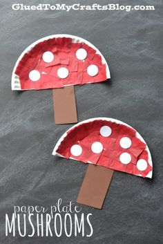 Paper Plate Mushrooms - Kid Craft Idea For Spring!-Paper Plate Mushrooms – Kid Craft Idea For Spring! Paper Plate Mushrooms – Kid Craft // Fall handicrafts with children fungus - Bee Crafts For Kids, Paper Plate Crafts For Kids, Frog Crafts, Glue Crafts, Preschool Crafts, Easter Crafts, Art For Kids, Autumn Crafts Kids, Fall Toddler Crafts