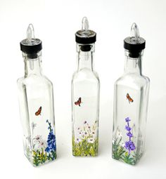 Hand Painted Butterflies and Flowers on Butterfly Oil and Vinegar Bottles