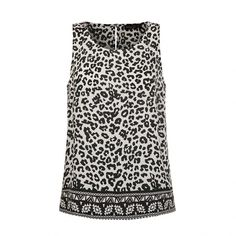Ally Fashion Leopard border print tank ($9.66) ❤ liked on Polyvore featuring tops, print, white singlet, print tank, print tops, white tank top and white top