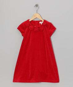 Take a look at this Red Rosette Velour Dress - Infant, Toddler & Girls by Trish Scully Child on #zulily today!
