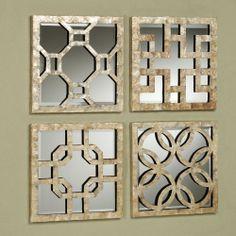 Vittoria Capiz Shell Mirrored Wall Art Set