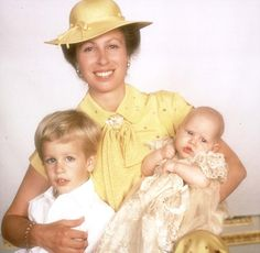 Princess Anne, July 1981 - the christening of Zara Phillips, just two days before the wedding of Charles and Diana. On the left is her son Peter Phillips. Princesa Anne, The Queens Children, Windsor, Kate Middleton, Prinz Philip, Zara Phillips, Peter Phillips, Elisabeth Ii, Princesses