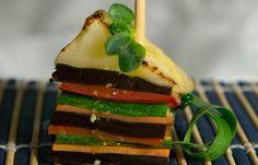 Millefoglie verdure grigliate e Provolone Valpadana DOP fondente _ chef Rossano Boscolo