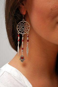 Dream Catcher earrings hamsa hand earrings boho summer by Estibela