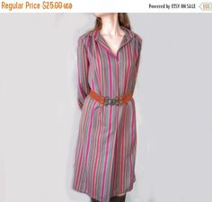 VINTAGE kaftan - vintage midi dress - Soviet vintage dress - soviet purple dress - vintage long sleeved dress - stripe dress - 1970's dress