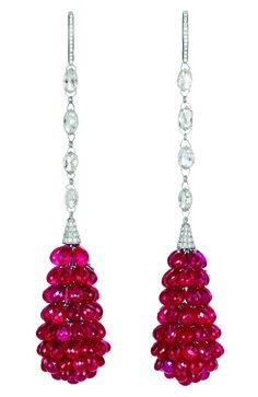 Ruby and diamond briolette earrings by Chopard, Red Carpet 2011...