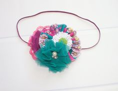 Bloom, Pop - headband in fuchsia, teal, lime green, plum purple, pink and white (RTS) by SoTweetDesigns on Etsy