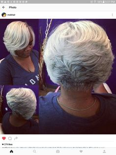 Beautiful Gray: That color and cut! Silver Grey Hair, White Hair, Black Hair, Mom Hairstyles, Black Girls Hairstyles, Haircuts, Short Hair Cuts, Short Hair Styles, Salt And Pepper Hair