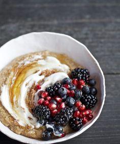 Candice Kumai | Creamy Amaranth & Fresh Berry Porridge 1 cup amaranth (gluten-free grain, naturally!) (or try rolled oats! YUM!) 1 cup coconut milk beverage or almond milk 2 cups water ¼ teaspoon sea salt