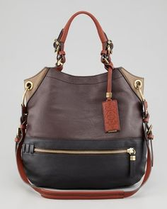 Oryany Sydney Colorblock Large Shoulder Bag, Brown in Best of Winter 2013 from Neiman Marcus on shop.CatalogSpree.com, my personal digital mall.