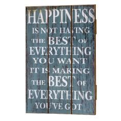 Happiness Wooden 3 Plank Wall Plaque --- Quick Info: Price £18.50 This distressed blue wooden wall plaque features 3 planks of wood joined to form one motto wall plaque for easy hanging.  --- Available from Roman at Home. Images Copyright www.romanathome.com