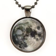 Full Moon Necklace In Gunmetal Black, nebula galaxy jewelry – CellsDividing