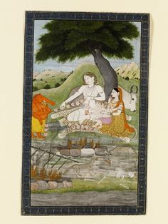 Shiva, Parvati, Ganesh and Kartikeya (Painting), stringing a mala of severed heads, Kangra, 1810 | V&A Search the Collections