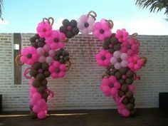 Mar 2020 - Flower Balloon Arch in pinks and chocolate artist unknown Balloon Tower, Ballon Arch, Balloon Display, Love Balloon, Balloon Columns, Balloon Wall, Balloon Garland, Ballon Decorations, Birthday Decorations