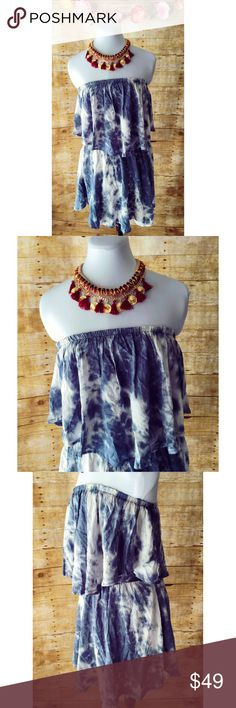 NWOT Strapless Tie Dyed Boho Asymmetrical Dress Cute & stylish tie dyed boho style mini dress in blue & white. Dress is super soft & comfy and features an elastic bodice/waist with asymmetrical ruffle/flap covering bodice. Bottom hem is also asymmetrical. Brand new!!! Olivaceous Dresses Mini