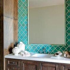 Turquoise Blue Moroccan Tile Backsplash with Turquoise Tiled Mirror