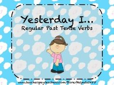 "Regular Past Tense Verbs flashcards. Includes text such as, ""Today I love. Yesterday I ______,"" as well as a graphic to go with each verb card."