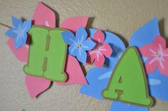 Hawaiian Leis Luau Flower Happy Birthday Banner by bcpaperdesigns, $27.00