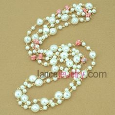 Shining pink flower pearl strand necklace